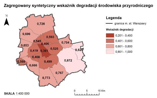 Rys. 2. Przestrzenny rozkład zagregowanego syntetycznego wskaźnika degradacji środowiska przyrodniczego