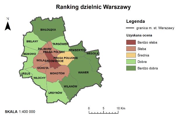 Rys. 5. Ranking dzielnic Warszawy