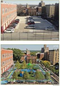 Przestrzeń publiczna w Nowym Jorku przed i po transformacji.